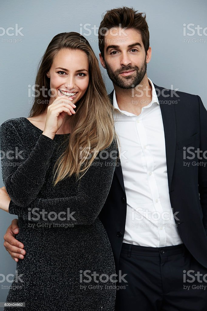 Portrait of smartly dressed couple stock photo