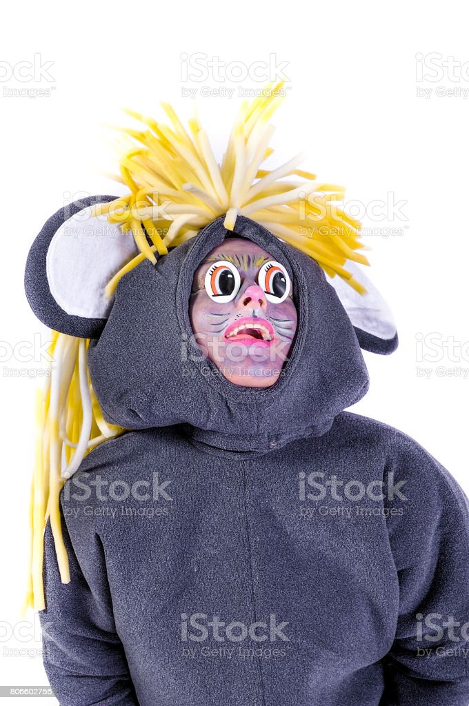 Portrait of smiling and fooling around animator in theater role - a grey mouse. Emotional and colorful. Isolated background stock photo