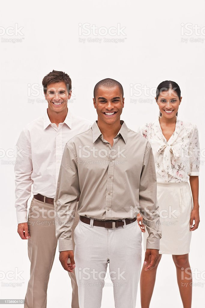 Portrait of smiling business colleagues standing together royalty-free stock photo