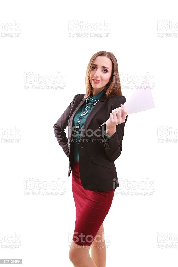 Portrait of smiling business woman with blank paper, isolated on royalty-free stock photo