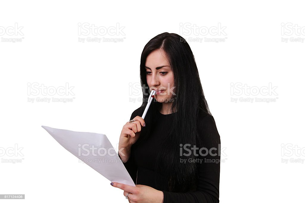 Portrait of smiling business woman with paper folder, isolated o royalty-free stock photo