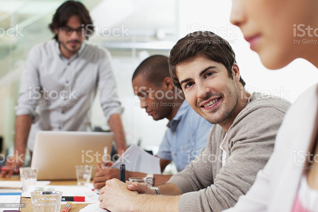 Portrait of smiling businessman in meeting royalty-free stock photo