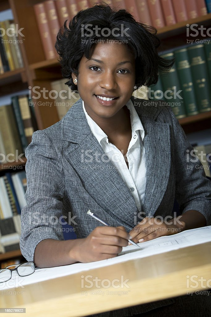 Portrait of smiling businesswoman stock photo