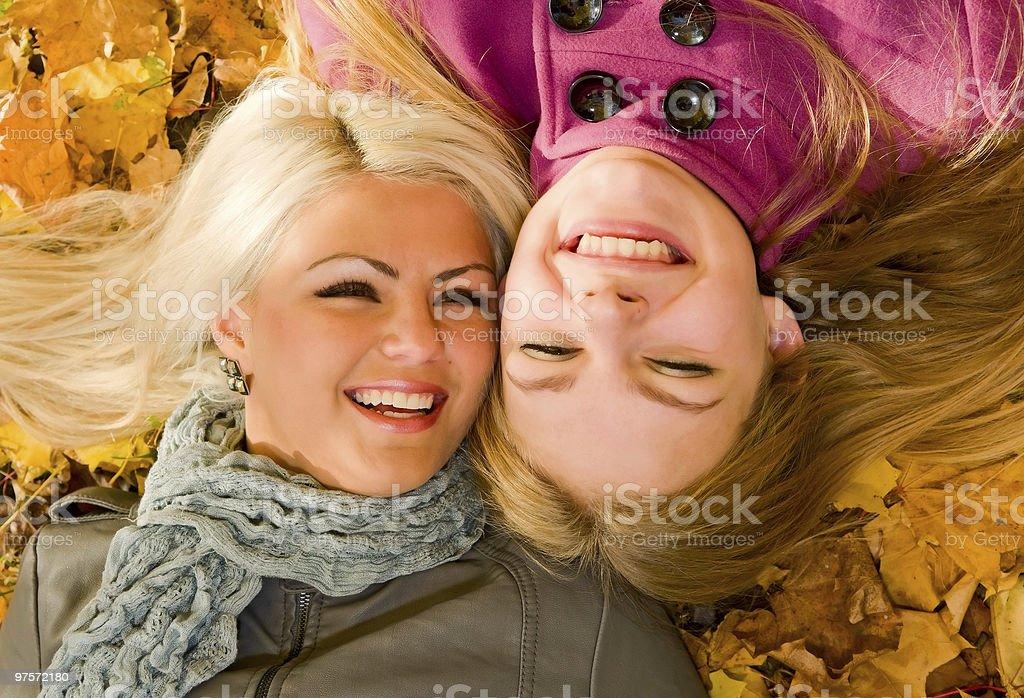 portrait of smiling girls stock photo