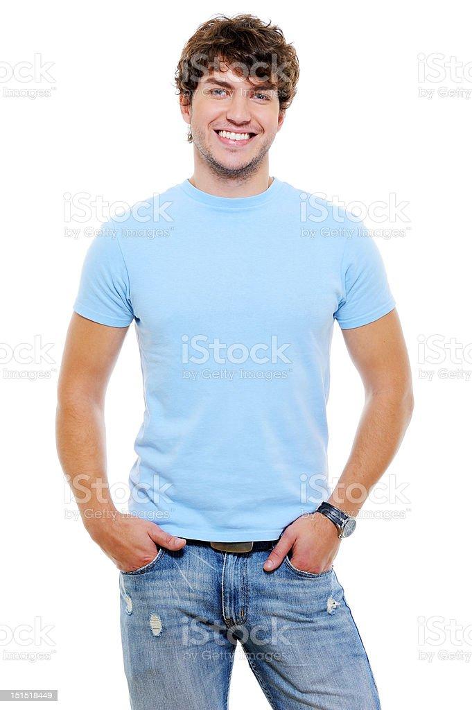 Portrait of smiling happy glad guy stock photo