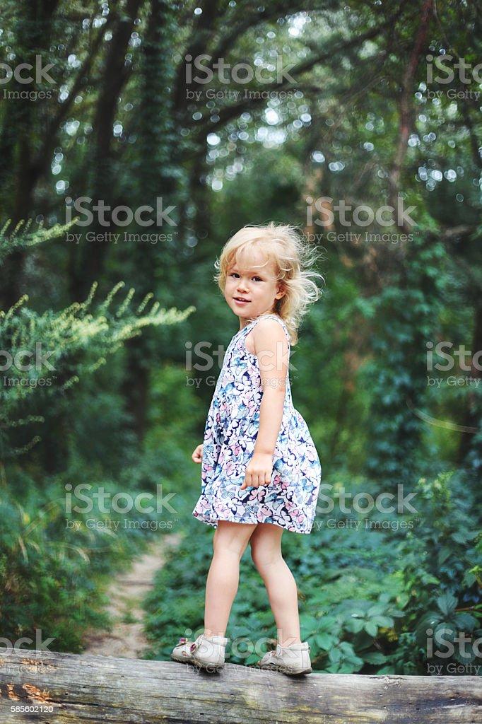 Portrait of smiling little girl stock photo