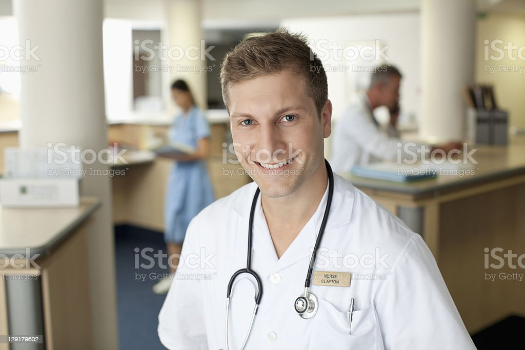 Portrait of smiling male nurse royalty-free stock photo