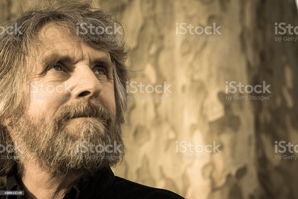 Portrait of Smiling Mature Man with Beard Outdoors, Europe stock photo