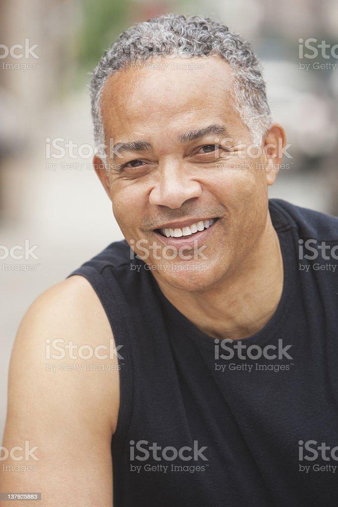 Portrait of smiling older man stock photo