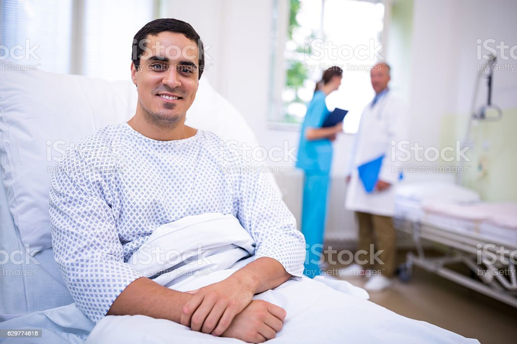 Portrait of smiling patient stock photo