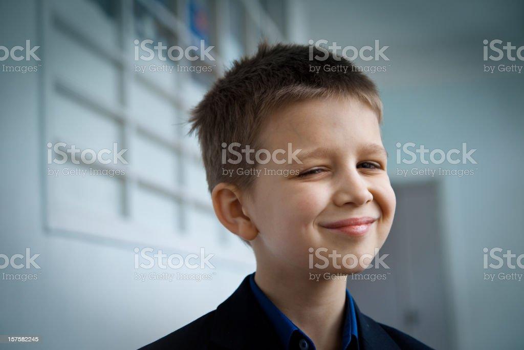 Portrait of smiling school boy royalty-free stock photo