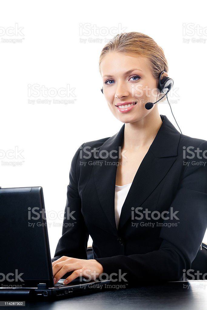 Portrait of smiling support phone operator in headset, isolated royalty-free stock photo
