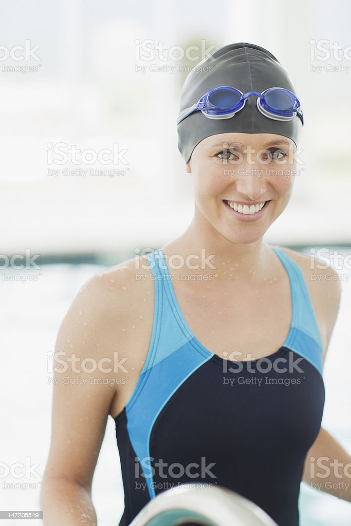Portrait of smiling swimmer stock photo