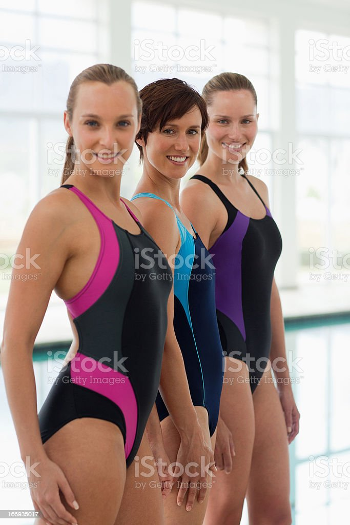 Portrait of smiling swimmers royalty-free stock photo