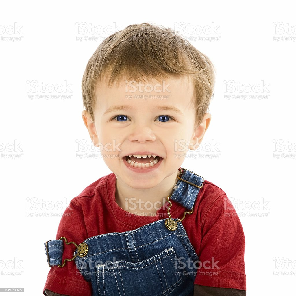 Portrait of smiling toddler on white background royalty-free stock photo