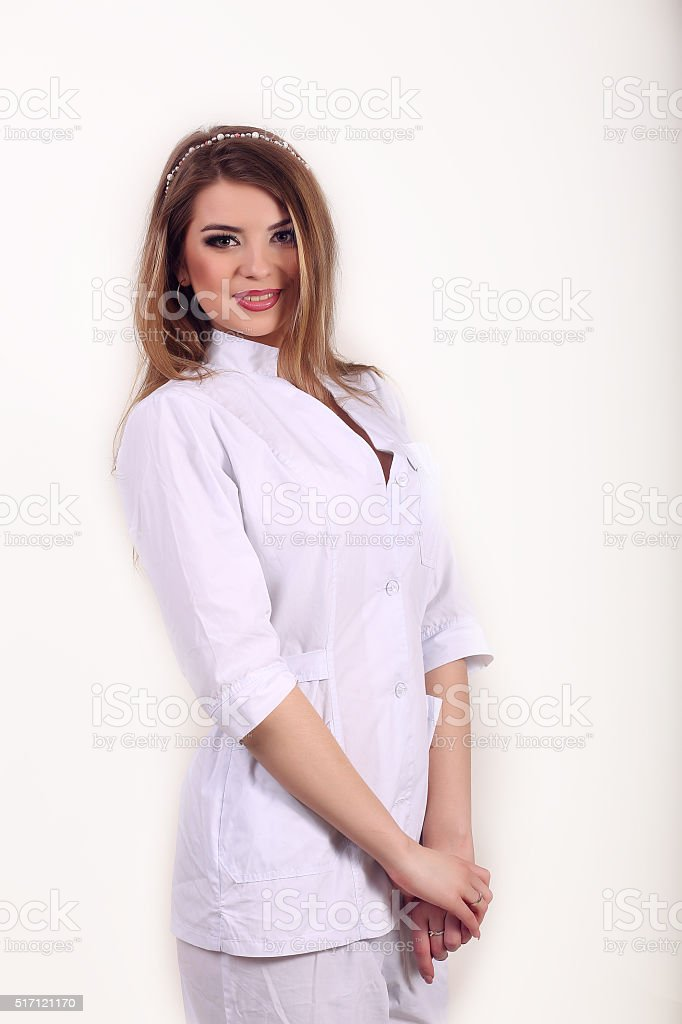 Portrait of smiling woman in white robe royalty-free stock photo