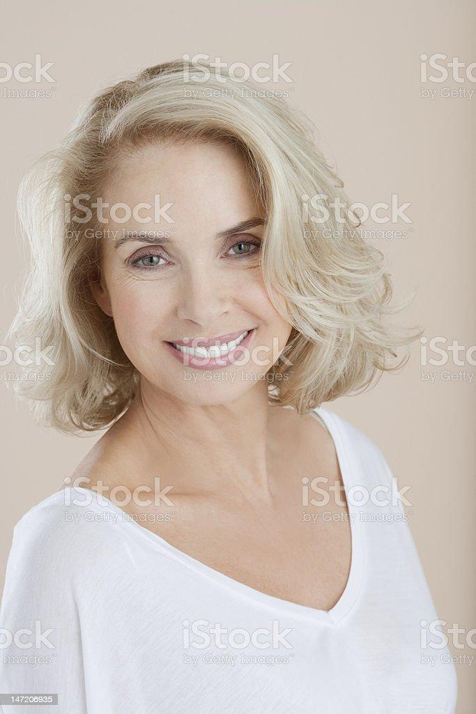 Portrait of smiling woman stock photo