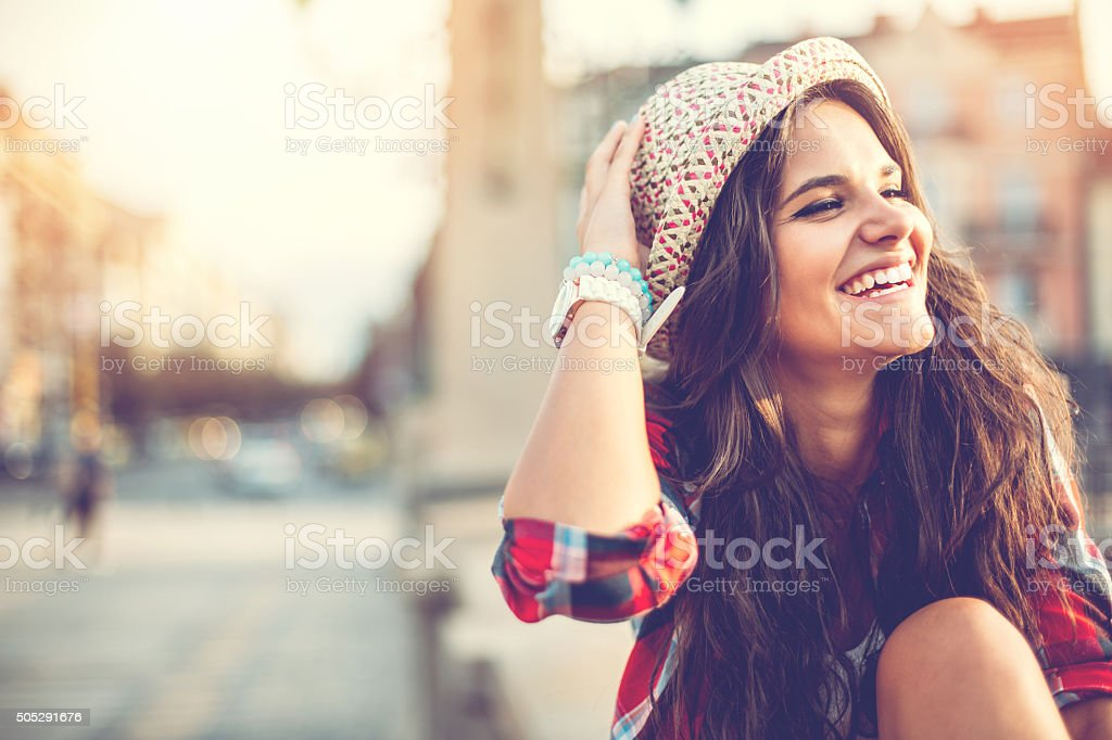 Portrait of smiling woman with copy space stock photo