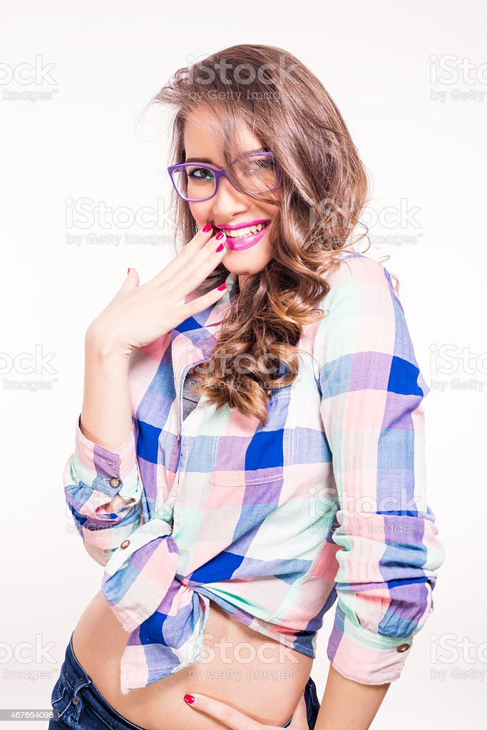 Portrait of smiling woman with eyeglasses stock photo