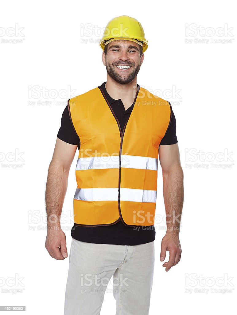 Portrait of smiling worker in a reflective vest stock photo