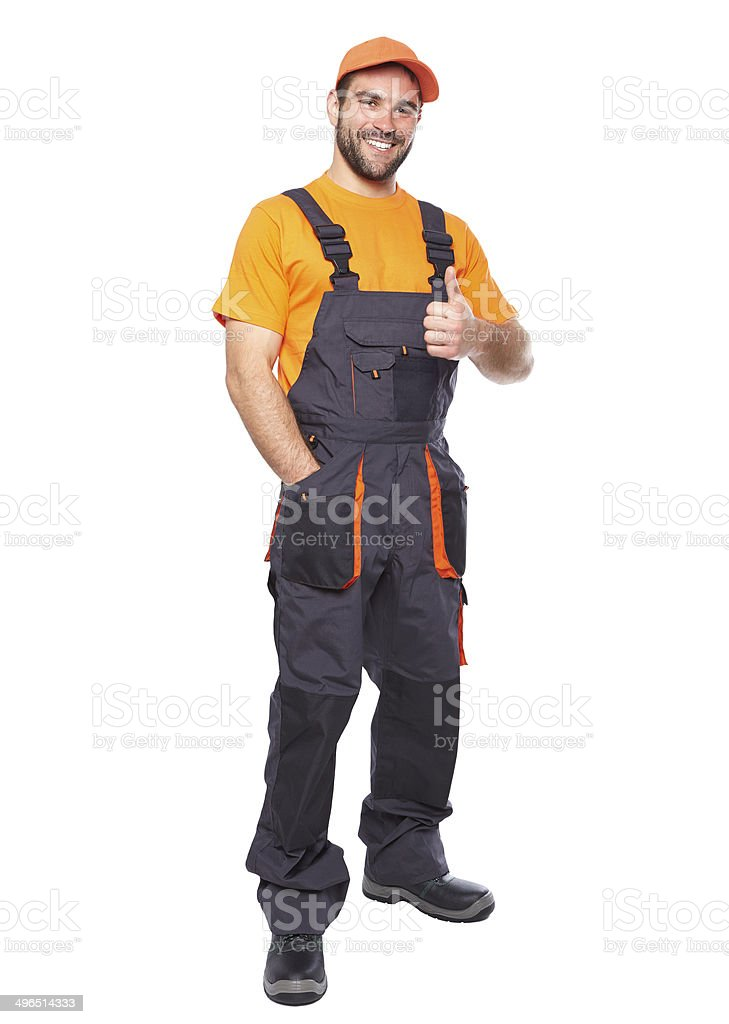 Portrait of smiling worker in blue uniform stock photo