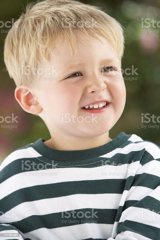 Portrait Of Smiling Young Boy Outdoors royalty-free stock photo