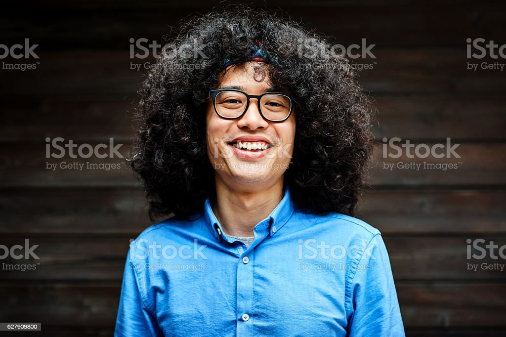 Portrait of smiling young business man stock photo