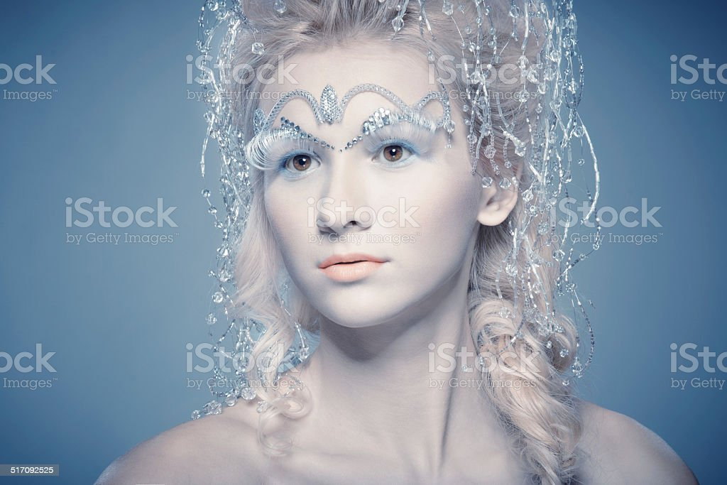 Portrait of Snow Queen from fairytale stock photo