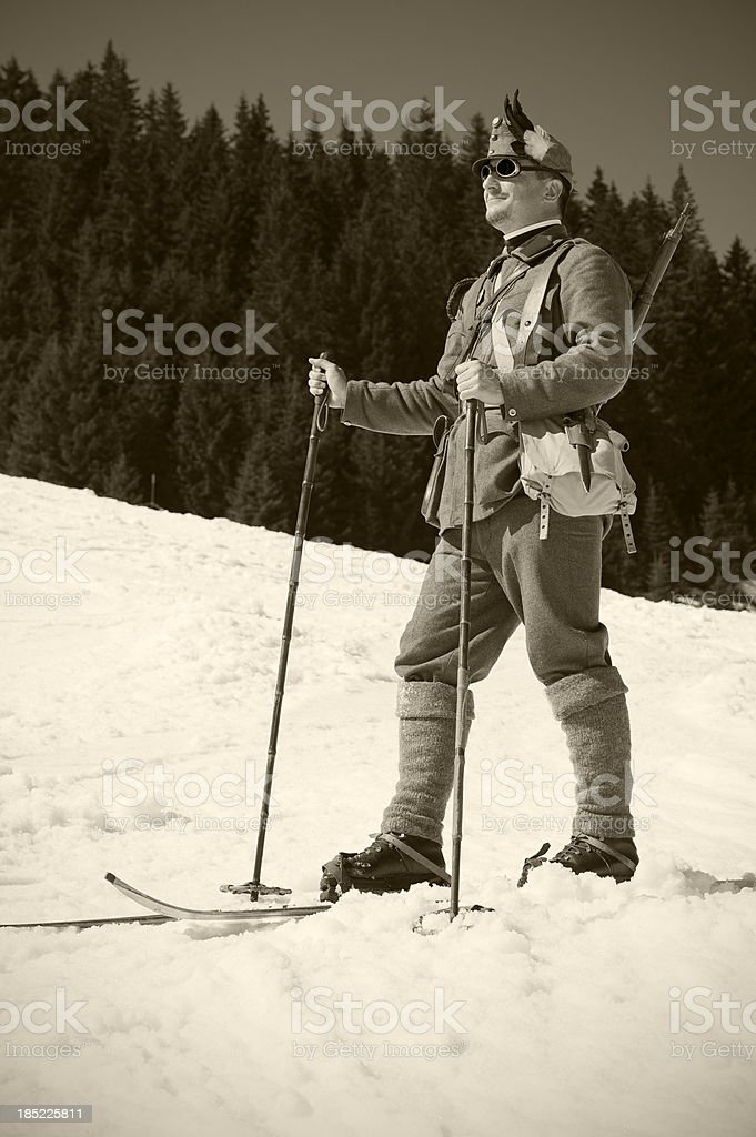 Portrait of soldier skier stock photo