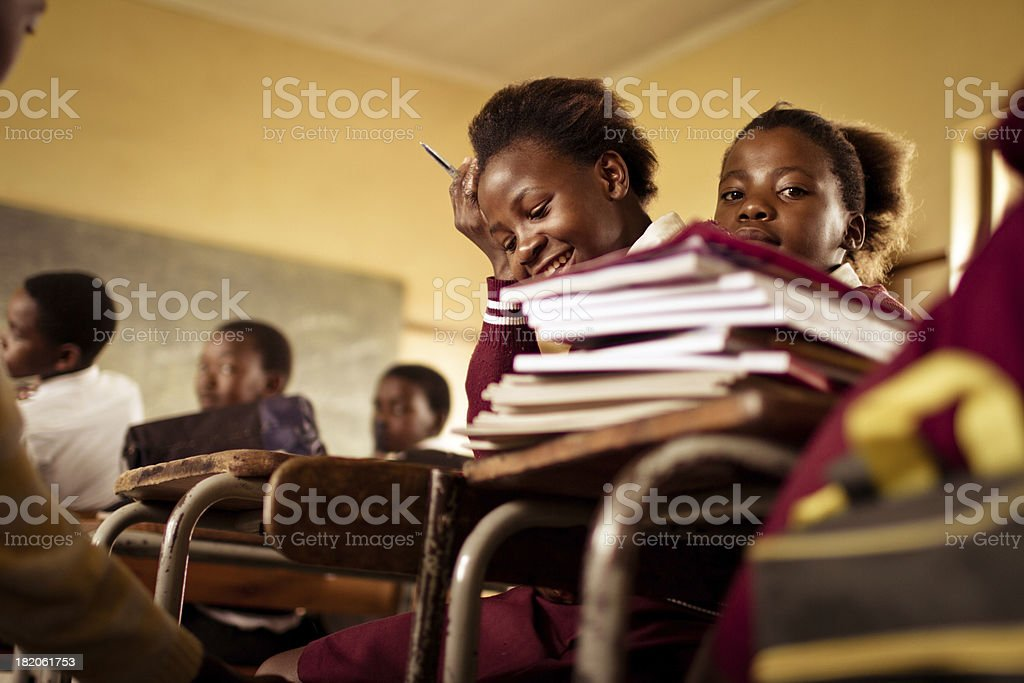 Portrait of South African girls in a rural Transkei classroom royalty-free stock photo