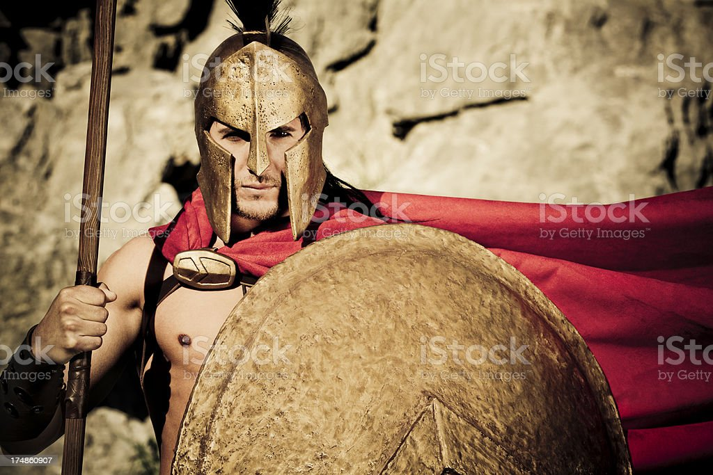Portrait of Spartan warrior with shield and lance stock photo