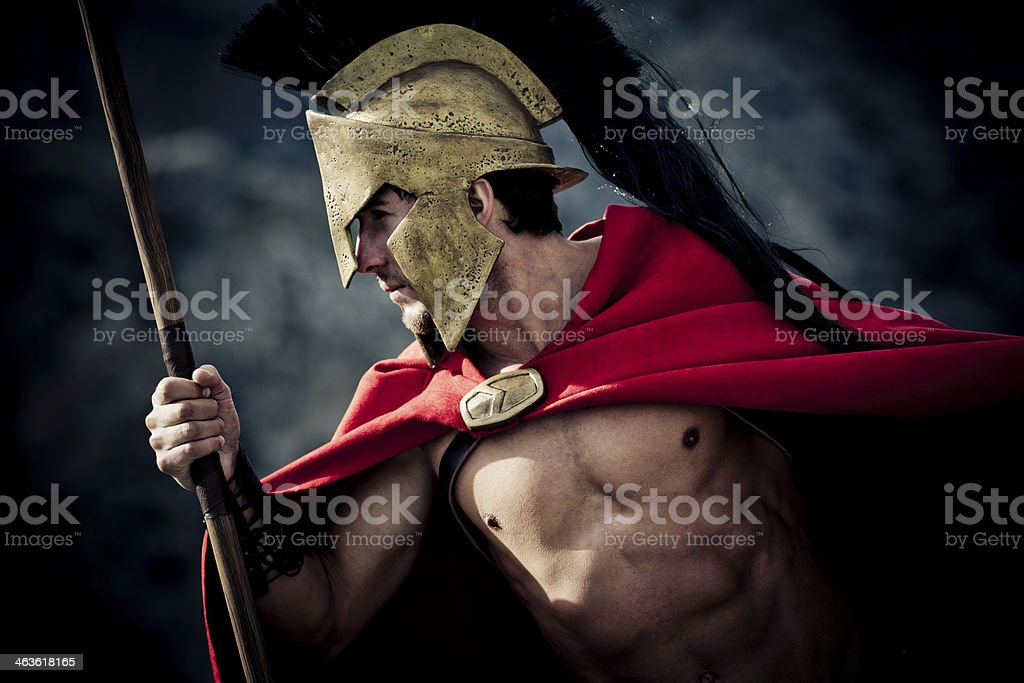 Portrait of Spartan warroir stock photo