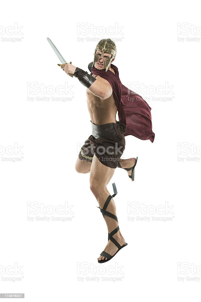 Portrait of spartan with a sword royalty-free stock photo