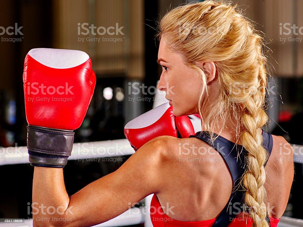 Portrait of sport blond girl boxing stock photo
