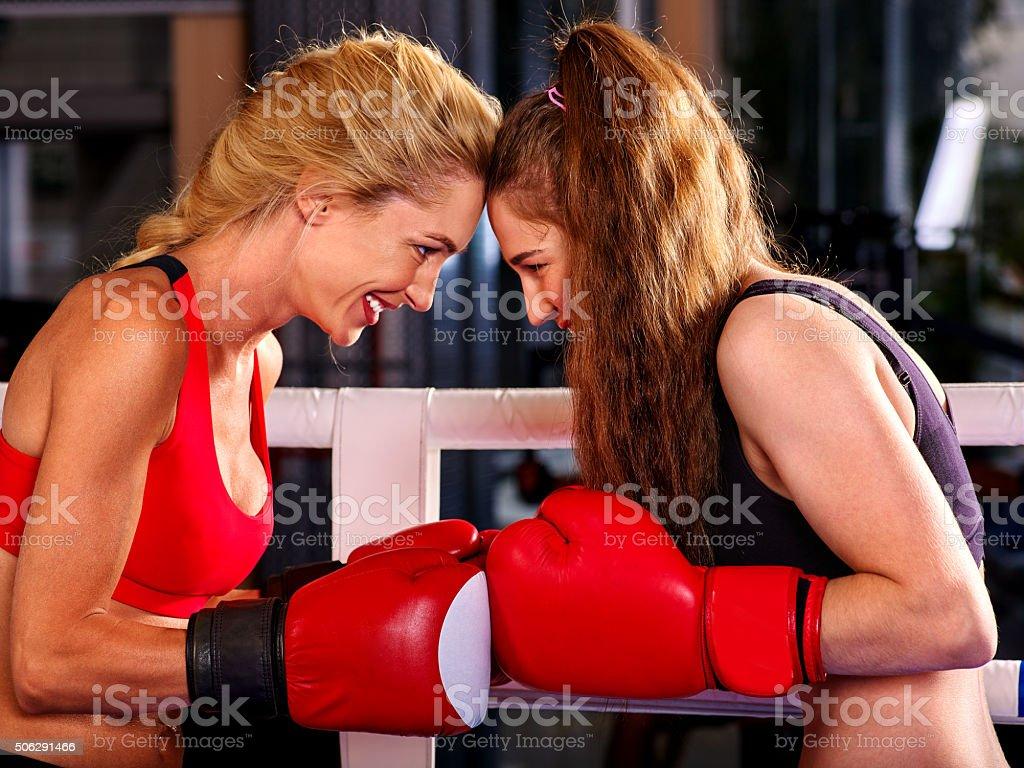 Portrait of sport girl boxing stock photo