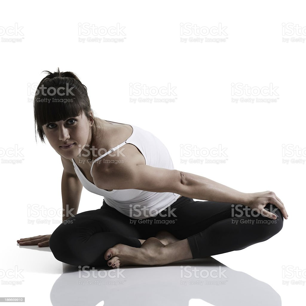 portrait of sport girl doing yoga stretching exercise royalty-free stock photo