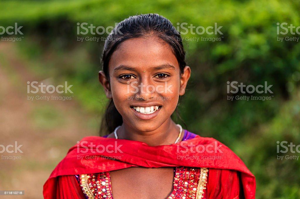 Portrait of Sri Lankan young girl near Nuwara Eliya, Ceylon stock photo