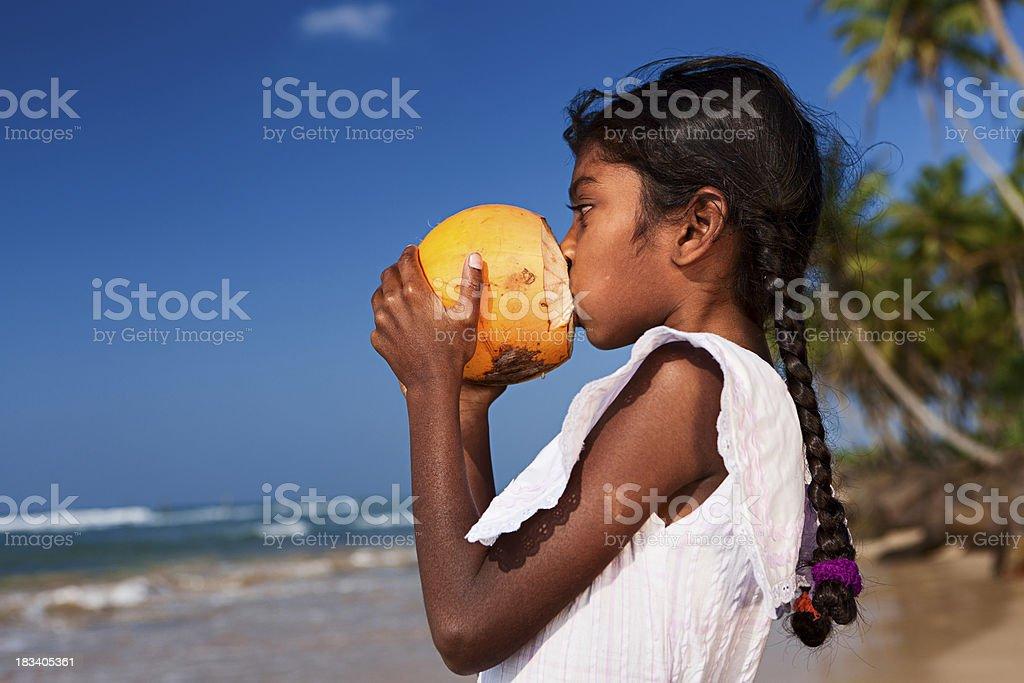 Portrait of Sri Lankan young girl on the beach stock photo