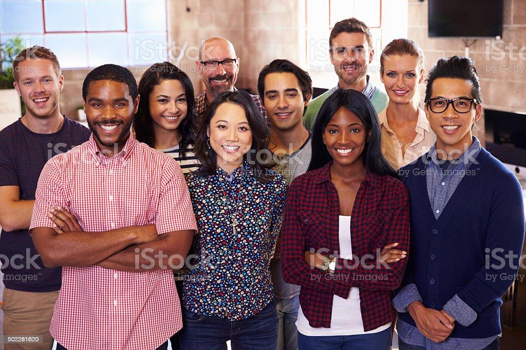 Portrait Of Staff Standing In Modern Design Office stock photo