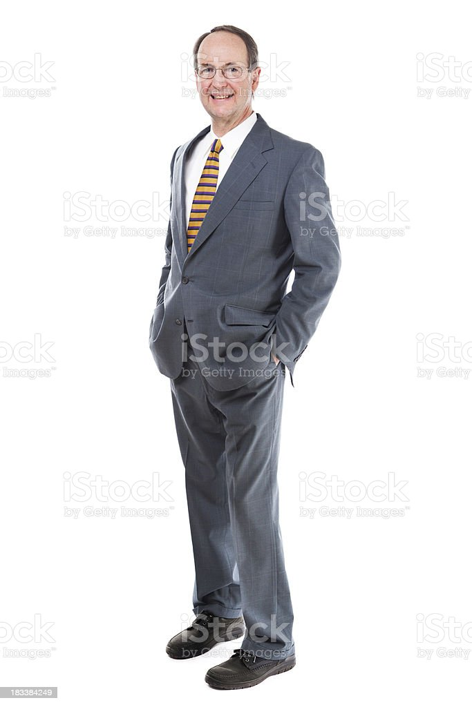 Portrait of Standing Businessman on White Background royalty-free stock photo