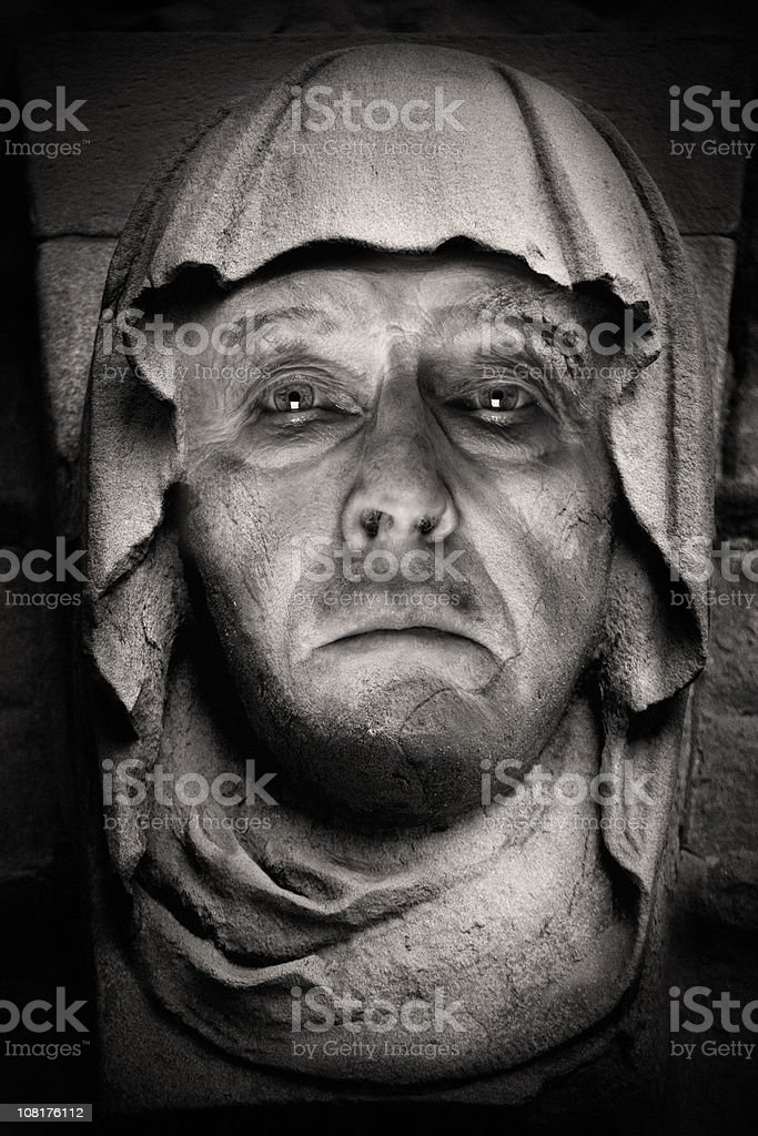 Portrait of Statue Man Wearing Hood, Black and White stock photo