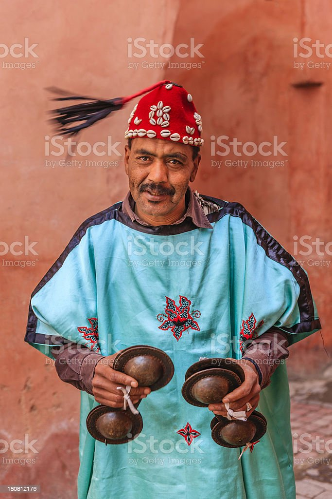 Portrait of street musician in Marrakesh, Morocco stock photo