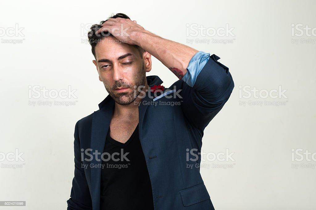 Portrait of stressed man stock photo