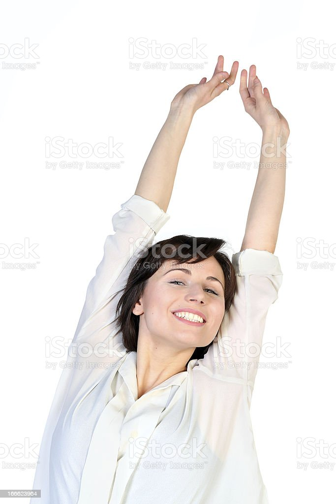 Portrait of  stretching happy woman royalty-free stock photo