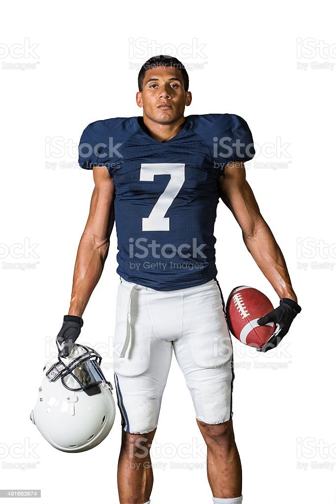 Portrait of strong American Football Player isolated on white stock photo