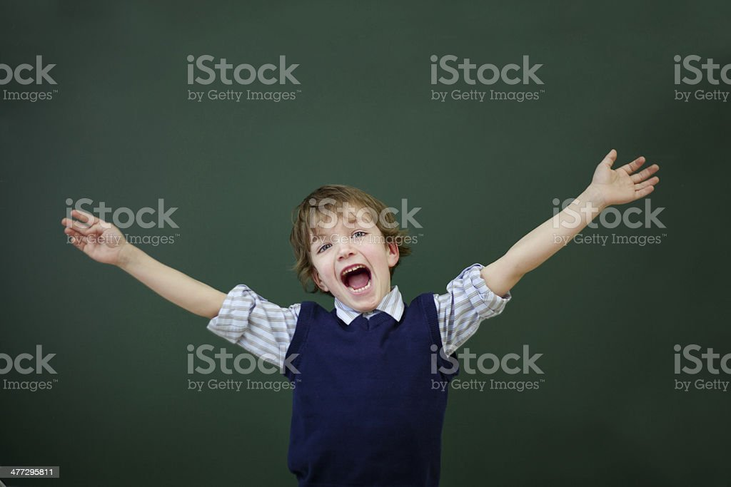 Portrait of student at blackboard background royalty-free stock photo