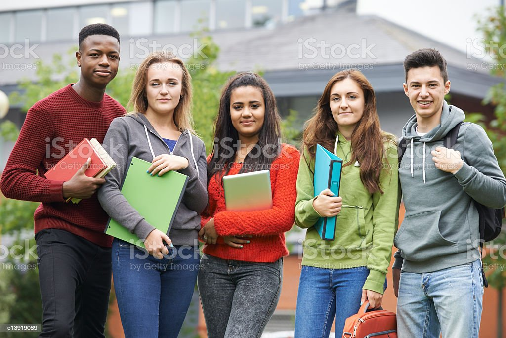 Portrait Of Student Group Outside College Building stock photo