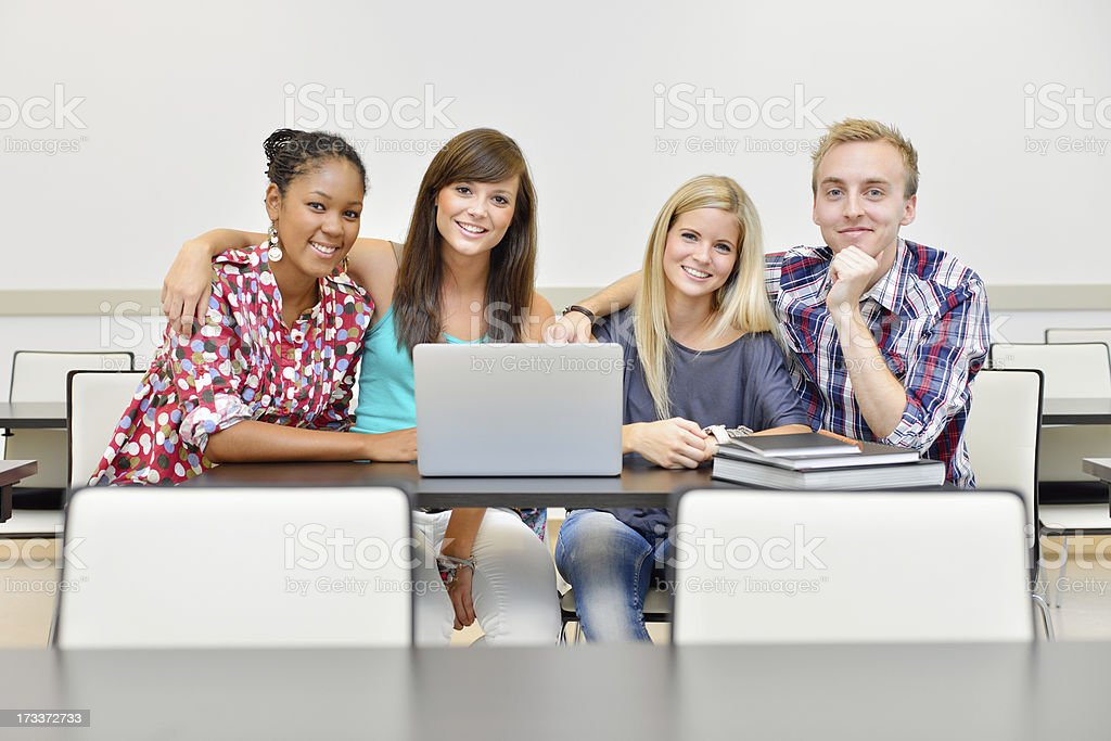 Portrait of study group at school royalty-free stock photo