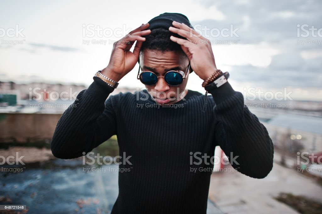 Portrait of  style black man on the roof stock photo