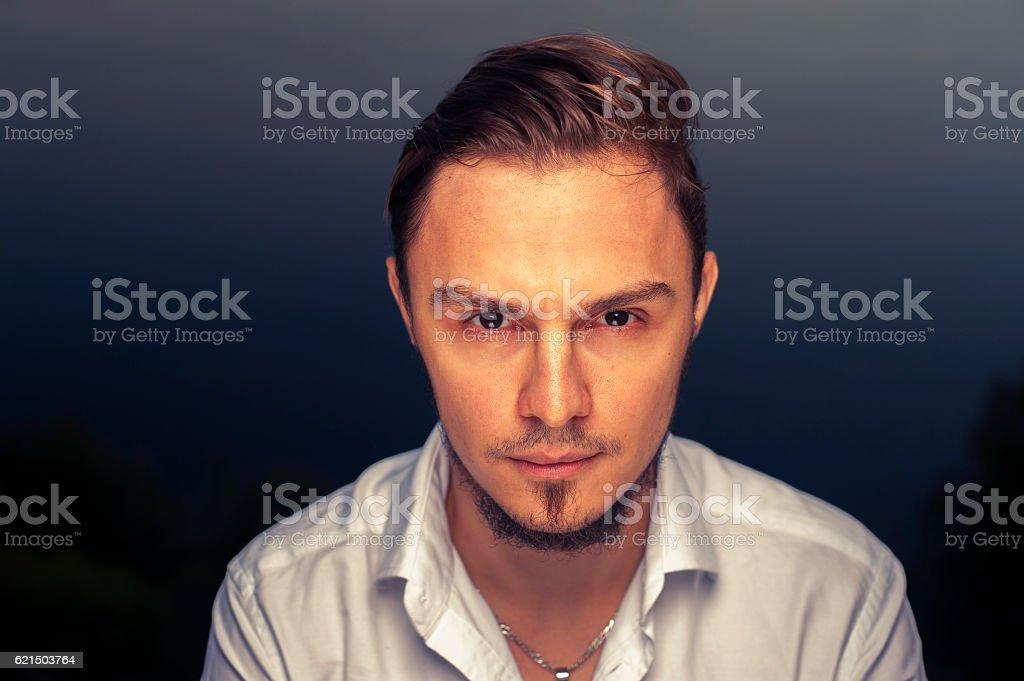 Portrait of stylish attractive man with beard stock photo